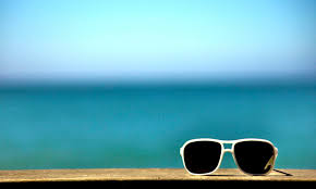 sunglasses with blue background